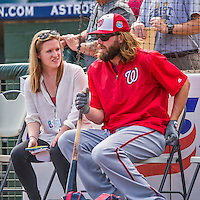 15 March 2016: Washington Nationals outfielder Jayson Werth chats with Washington Post Reporter Chelsea Janes prior to a Spring Training pre-season game against the Houston Astros at Osceola County Stadium in Kissimmee, Florida. The Nationals defeated the Astros 6-4 in Grapefruit League play. Mandatory Credit: Ed Wolfstein Photo *** RAW (NEF) Image File Available ***