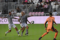 12th May 2021; Fort Lauderdale, Miami, USA;  James Pantemis of CF Montreal, watches as Aljaz Struna (24) of CF Montreal controls the ball at the Inter Miami CF match against CF Montreal on May 12, 2021 at DRV PNK Stadium.