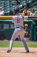 Tim Smalling (8) of the Albuquerque Isotopes at bat against the Salt Lake Bees in Pacific Coast League action at Smith's Ballpark on June 28, 2015 in Salt Lake City, Utah.The Isotopes defeated the Bees 8-3. (Stephen Smith/Four Seam Images)