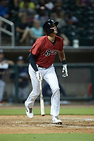 Craig Dedelow (11) of the Birmingham Barons starts down the first base line against the Mississippi Braves at Regions Field on August 3, 2021, in Birmingham, Alabama. (Brian Westerholt/Four Seam Images)