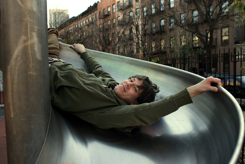 JOHN GALLAGHER Jr. in Hell's Kitchen playgound.  He plays a suicidal teen in the rock musical play, SPRING AWAKENING.  Tenth Av., NYC.  Newsday/ARI MINTZ  11/21/2006.