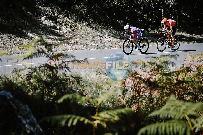 Fellow countrymen Stefan Kung (SUI) Groupama-FDJ and Michael Schar (SUI) CCC Team are the day's breakaway during Stage 10 of Tour de France 2020, running 168.5km from Ile d'Oléron to Ile de Ré, France. 8th September 2020.<br /> Picture: ASO/Pauline Ballet | Cyclefile<br /> All photos usage must carry mandatory copyright credit (© Cyclefile | ASO/Pauline Ballet)