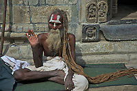 100 plus year old Sadhu at the Shambhu Nath Hindu traditional Cremation Area, Kathmandu, Nepal