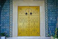 Ceramics, Gammarth, Tunisia.  Nabeul Tiles Decorate Entrance to Tunisian Home.