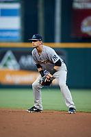 Trenton Thunder second baseman Bruce Caldwell (12) during a game against the Richmond Flying Squirrels on May 11, 2018 at The Diamond in Richmond, Virginia.  Richmond defeated Trenton 6-1.  (Mike Janes/Four Seam Images)
