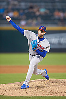 Buffalo Bisons starting pitcher T.J. Zeuch (27) in action against the Charlotte Knights at BB&T BallPark on July 24, 2019 in Charlotte, North Carolina. The Bisons defeated the Knights 8-4. (Brian Westerholt/Four Seam Images)