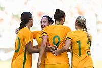Carson, CA - Thursday August 03, 2017: Sam Kerr, Lisa De Vanna, Caitlin Foord, Tameka Butt during a 2017 Tournament of Nations match between the women's national teams of Australia (AUS) and Brazil (BRA) at the StubHub Center.