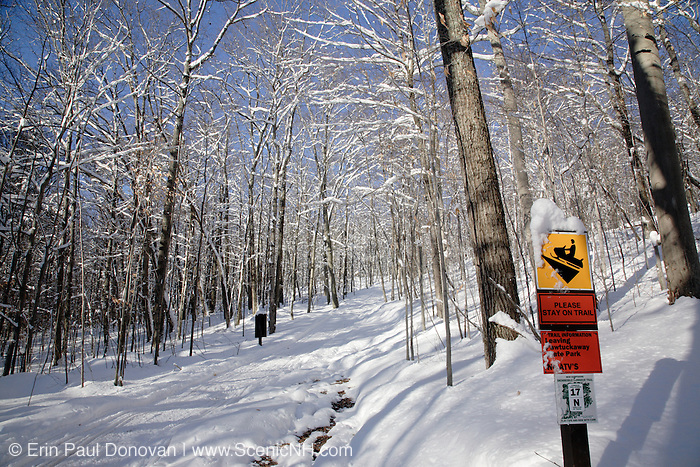 Pawtuckaway State Park during the winter months in Nottingham, New Hampshire.