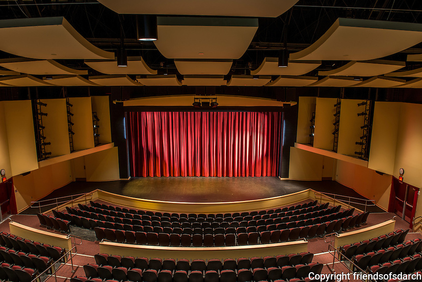 Creative Performing Media Arts (CPMA), 5050 Conrad Avenue, San Diego. New 21,500 sq.ft. Performing Arts Center for the CPMA program to accommodate drama, dance, music and multi-media performances. 460 seat facility within an acoustically-abated shell which resists noice intrusion from neighboring MCAS Miramar. Platt/Whitelaw Architects Design Team: Alison Whitelaw, FAIA; Rebecca Grijalva and Thomas Brothers. Photo by Ralph LoVuolo.