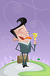Illustrative image of happy businessman licking candy with rupee sign representing profit