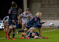 19th December 2020; AJ Bell Stadium, Salford, Lancashire, England; European Champions Cup Rugby, Sale Sharks versus Edinburgh; Faf De Klerk (C) of Sale Sharks distributes the ball