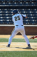 Liam Scafariello (25) of the Quinnipiac Bobcats at bat against the Radford Highlanders at David F. Couch Ballpark on March 4, 2017 in Winston-Salem, North Carolina. The Highlanders defeated the Bobcats 4-0. (Brian Westerholt/Four Seam Images)