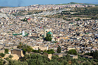Fes, Morocco - Zawiya of Moulay Idris II, in center.  Kairaouine Mosque, left of center, Fes El-Bali.
