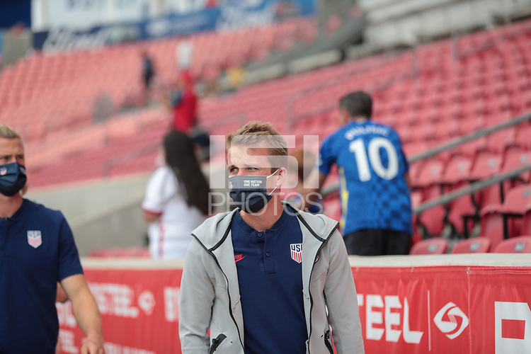 SANDY, UT - JUNE 10: Jackson Yueill #14 of the United States before a game between Costa Rica and USMNT at Rio Tinto Stadium on June 10, 2021 in Sandy, Utah.