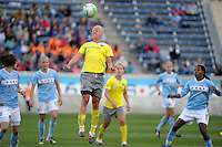 Philadelphia midfielder Caroline Seger (9) heads the ball.  The Philadelphia Independence defeated the Chicago Red Stars 1-0 at Toyota Park in Bridgeview, IL on May 15, 2010.