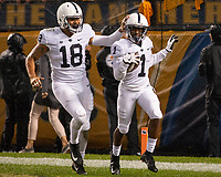 Penn State wide receiver KJ Hamler (1) and Jonathan Holland celebrate Hamler's 32-yard touchdown run. The Penn State Nittany Lions defeated the Pitt Panthers 51-6 on September 08, 2018 at Heinz Field in Pittsburgh, Pennsylvania.