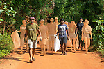 Auroville, India - April 2021: Human Unity in Covid Time. Clean up day, dedicated to clean the community, picking up garbage and rubbish thrown away into the forest.