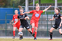 Geena Lisa Buyle (13) of Zulte-Waregem pictured in a duel with Jana Simons (8) of Woluwe and Summer Rogiers (8) of Zulte-Waregem during a female soccer game between FC Femina White Star Woluwe and SV Zulte Waregem on the fifth matchday of play off 2 in the 2020 - 2021 season of Belgian Scooore Womens Super League , Saturday 8 th of May 2021  in Woluwe , Belgium . PHOTO SPORTPIX.BE   SPP   DAVID CATRY