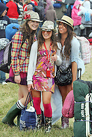 08/07/'10 Roisin McHugh, Julie Fitzgerald and Kirstyn Byrne from Knocklyon pictured arriving at Punchestown, Co. Kildare this evening for the start of the Oxegen Festival 2010...Picture Colin Keegan, Collins, Dublin