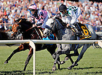 ARLINGTON HEIGHTS, IL - AUGUST 13: Kasaqui #6 (R), ridden by Robby Albarado, and Mondialiste #9 (L), ridden by Daniel Alexander Tubhope, pass the grandstand for the first time during the Arlington Million at Arlington International Racecourse on August 13, 2016 in Arlington Heights, Illinois. (Photo by Jon Durr/Eclipse Sportswire/Getty Images)