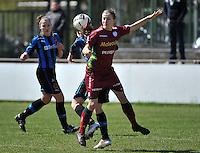 Dames Club Brugge - SV Zulte Waregem : duel met Elodie Branquart.foto DAVID CATRY / Nikonpro.be