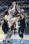 Real Madrid's Rudy Fernandez (c) and Fenerbahce Istambul's Nikola Kalinic (l) and Pero Antic during Euroleague Quarter-Finals 3rd match. April 19,2016. (ALTERPHOTOS/Acero)