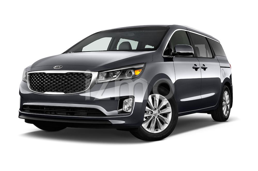 Stock pictures of low aggressive front three quarter view of 2015 KIA Sedona EX 5 Door Minivan Low Aggressive