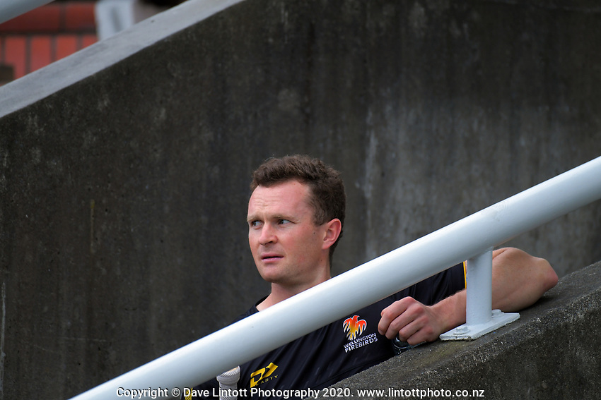 Ollie Newton watches during day two of the Plunket Shield cricket match between the Wellington Firebirds and Central Districts at Basin Reserve in Wellington, New Zealand on Monday, 2 March 2020. Photo: Dave Lintott / lintottphoto.co.nz