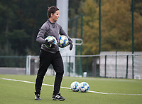 Willeke Willems goalkeeper of Woluwe (1) pictured before a female soccer game between Oud Heverlee Leuven and Femina White Star Woluwe  on the 5 th matchday of the 2020 - 2021 season of Belgian Womens Super League , Sunday 18 th of October 2020  in Heverlee , Belgium . PHOTO SPORTPIX.BE   SPP   SEVIL OKTEM