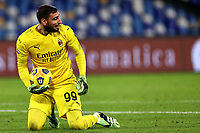 Gianluigi Donnarumma of AC Milan reacts during the Serie A football match between SSC Napoli and AC Milan at San Paolo stadium in Naples (Italy), November 22th 2020. Photo Cesare Purini / Insidefoto