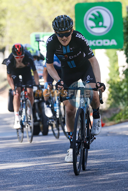 Michael Storer (AUS) Team DSM attacks from the breakaway during Stage 7 of La Vuelta d'Espana 2021, running 152km from Gandia to Balcon de Alicante, Spain. 20th August 2021.     <br /> Picture: Luis Angel Gomez/Photogomezsport   Cyclefile<br /> <br /> All photos usage must carry mandatory copyright credit (© Cyclefile   Luis Angel Gomez/Photogomezsport)