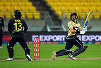 NZ's Mark Chapman bats during the third international men's T20 cricket match between the New Zealand Black Caps and Australia at Sky Stadium in Wellington, New Zealand on Wednesday, 3 March 2021. Photo: Dave Lintott / lintottphoto.co.nz