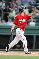 Right fielder Danny Mars (12) of the Greenville Drive bats in a game against the Savannah Sand Gnats on Friday, August 22, 2014, at Fluor Field at the West End in Greenville, South Carolina. Mars is a sixth-round pick of the Boston Red Sox in the 2014 First-Year Player Draft out of Chipola College. Greenville won, 6-5. (Tom Priddy/Four Seam Images)