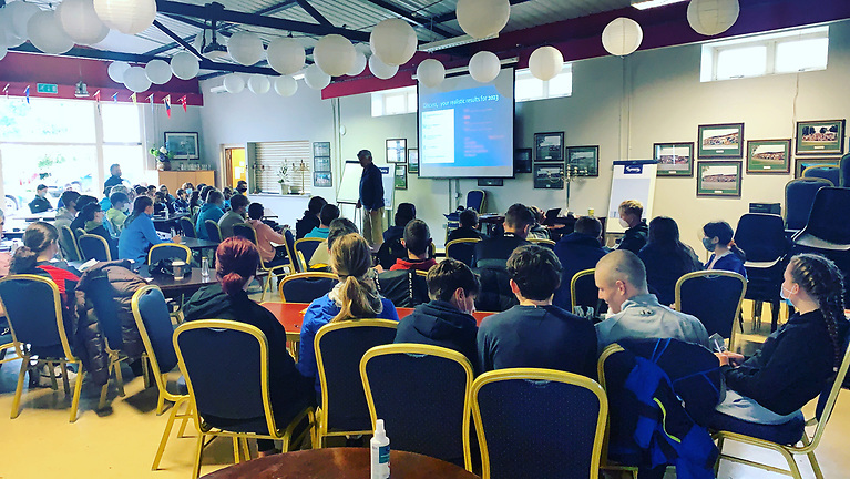 West Cork's David Harte discussing the setting of realistic goals at the inaugural youth sailing symposium at Lough Ree Yacht Club