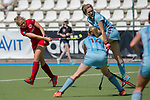 GER - Mannheim, Germany, May 05: During the women field hockey 1. Bundesliga match between Mannheimer HC (red) and Uhlenhorster HC Hamburg (light blue) on May 5, 2018 at Am Neckarkanal in Mannheim, Germany. Final score 1-3. (Photo by Dirk Markgraf / www.265-images.com) *** Local caption *** Camille Nobis #8 of Mannheimer HC