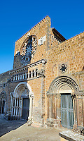 The 13th century Facade of the 9th century Romanesque Basilica Church of Santa Maria Maggiore, Tuscania