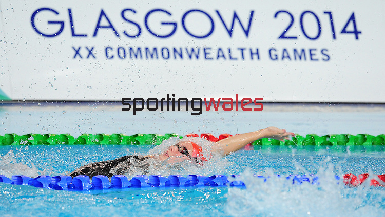 Wales' Danielle Stirrat competes in the women's 100m backstroke semi-final<br /> <br /> Photographer Chris Vaughan/CameraSport<br /> <br /> 20th Commonwealth Games - Day 2 - Friday 25th July 2014 - Swimming - Tollcross International Swimming Centre - Glasgow - UK