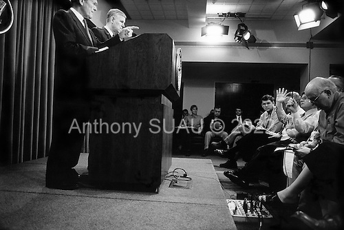 The Pentagon.Arlington, Virginia.April 25, 2003..Secretary of Defense Donald H. Rumsfeld and .Chairman of the Joint Chiefs of Staff Gen. Richard B. Myers hold a press conference at the pentagon to speak about the US operations in Iraq and Afghanistan.