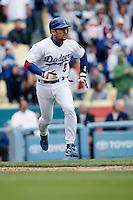 Nomar Garciaparra of the Los Angeles Dodgers during a 2007 MLB season game at Dodger Stadium in Los Angeles, California. (Larry Goren/Four Seam Images)