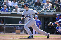 New Orleans Zephyrs Cole Gillespie (28) swings during the game against the Iowa Cubs  at Principal Park on April 13, 2016 in Des Moines, Iowa.  The Cubs won 9-5 .  (Dennis Hubbard/Four Seam Images)