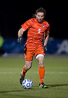 Thomas McNamara (5) of Clemson brings the ball forward during the ACC tournament semifinals at the Maryland SoccerPlex in Boyds, MD.  Maryland defeated Clemson, 1-0, in overtime.