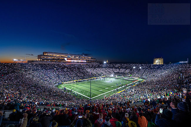 """October 23, 2021; Notre Dame Stadium during the """"lights out"""" pregame before the USC game, 2021. (photo by Matt Cashore)"""