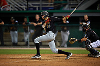 West Virginia Black Bears Will Matthiessen (59) bats during a NY-Penn League game against the Batavia Muckdogs on June 27, 2019 at Dwyer Stadium in Batavia, New York.  West Virginia defeated Batavia 6-5 in ten innings.  (Mike Janes/Four Seam Images)