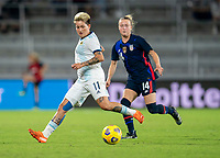 ORLANDO, FL - FEBRUARY 24: Yamila Rodriguez #11 of Argentina controls the ball during a game between Argentina and USWNT at Exploria Stadium on February 24, 2021 in Orlando, Florida.