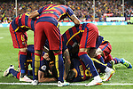 FC Barcelona's FC Barcelona's Rafinha, Neymar Junior, Leo Messi, Andres Iniesta and Geremi Mathieu  during Spanish Kings Cup Final match. May 22,2016. (ALTERPHOTOS/Rodrigo Jimenez)