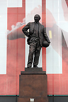 Pictured: Statue of Sir Matt Busby.<br /> Sunday 12 May 2013<br /> Re: Barclay's Premier League, Manchester City FC v Swansea City FC at the Old Trafford Stadium, Manchester.