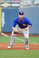 Midland RockHounds first baseman Anthony Aliotti (18) during a game against the Tulsa Drillers on May 30, 2014 at ONEOK Field in Tulsa, Oklahoma.  Tulsa defeated Midland 7-1.  (Mike Janes/Four Seam Images)
