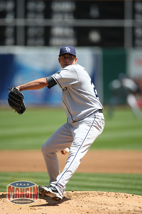 OAKLAND, CA - APRIL 25:  Matt Garza of the Tampa Bay Rays pitches during the game against the Oakland Athletics at the Oakland-Alameda County Coliseum in Oakland, California on Saturday, April 25, 2009.  The Athletics defeated the Rays 5-2.  Photo by Brad Mangin