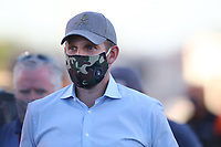 Sep 4, 2020; Clermont, Indiana, United States; Eric Trump, son of United States President Donald Trump wears a face mask as he watches NHRA qualifying for the US Nationals at Lucas Oil Raceway. Mandatory Credit: Mark J. Rebilas-USA TODAY Sports