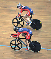 CALI - COLOMBIA - 14-01-2015: Miembros del equipo de Estados Unidos,  durante entrenamiento en el Velodromo Alcides Nieto Patiño, sede de la III Copa Mundo UCI de Pista de Cali 2014-2015  / Members of Team USA, during a training at the Alcides Nieto Patiño Velodrome, home of the III Cali Track World Cup 2014-2015 UCI. Photos: VizzorImage / Luis Ramirez / Staff.